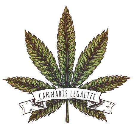 Cannabis hoja ilustración vectorial.