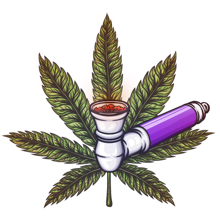 sativa: Cannabis leaf with pipe. Illustration