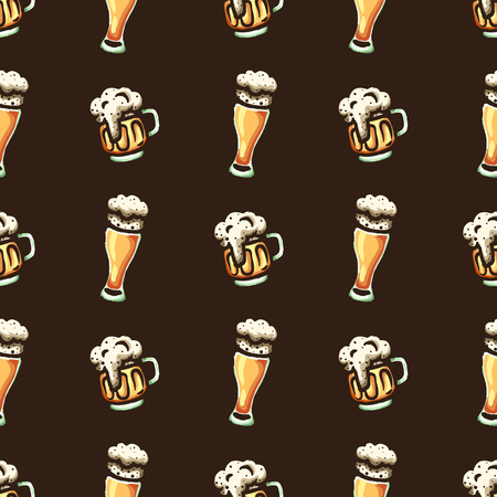 Hand drawn seamless pattern on a beer theme.