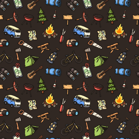 camping site: Hand drawn camping seamless pattern.