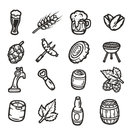 ale: Set of hand drawn beer icons.