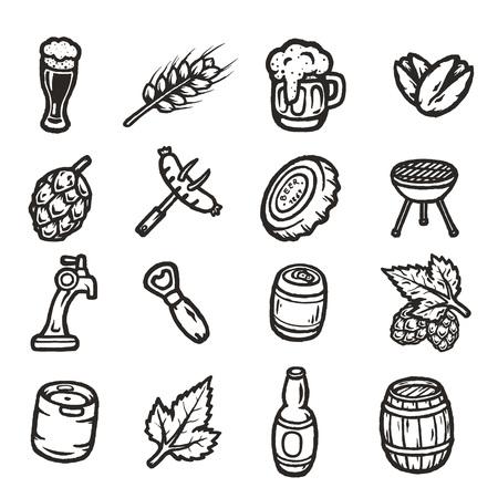 beers: Set of hand drawn beer icons.