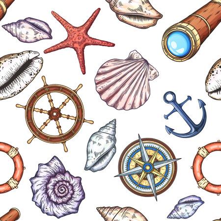 coastal: Hand drawn marine background. Illustration