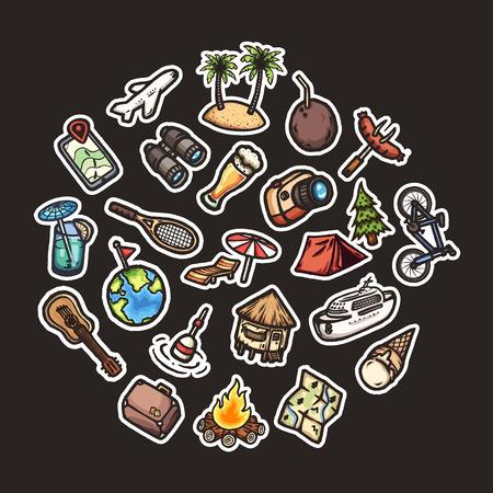 Cartoon vacation icons