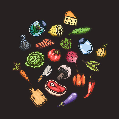 salmon steak: Set of hand drawn cartoon images of food and kitchen stuff.