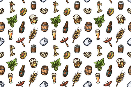 beers: Hand drawn seamless pattern on a beer theme.