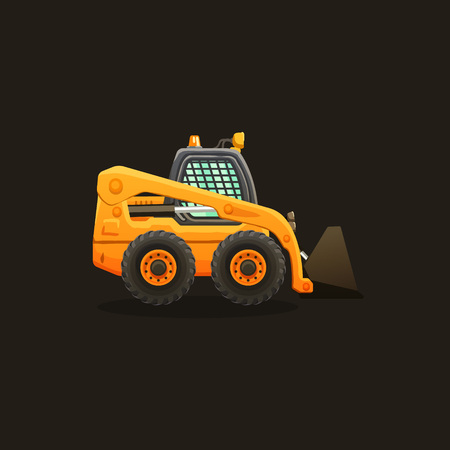 earth mover: Mini loader vector cartoon isolated illustration.