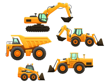 Construction equipment vector isolated set. Imagens