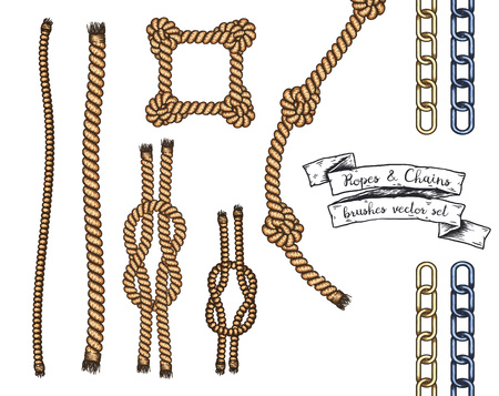 Set of hand drawn editable brushes of ropes and chains.