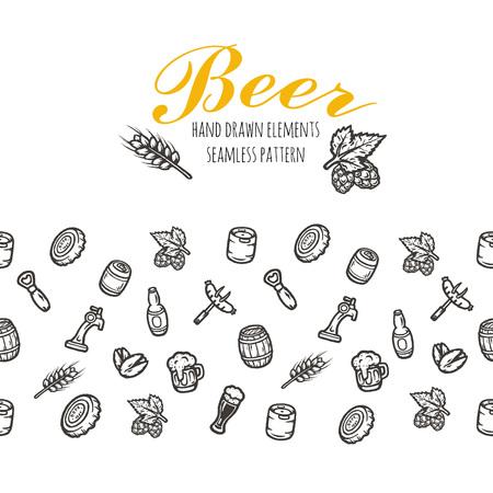 Hand getrokken naadloze patroon met bier spullen. Vector textuur.