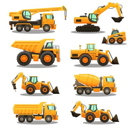 Zestaw sprzętu budowlanego.