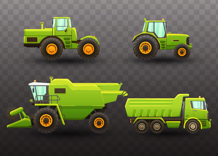 Vector isolated illustrations of agricultural machinery.