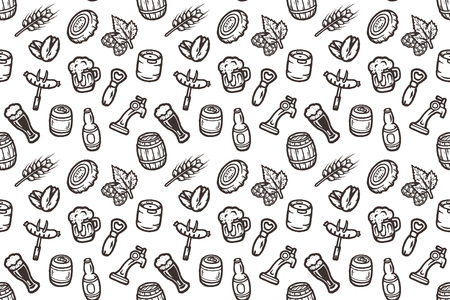 Hand drawn seamless pattern with beer stuff. Stock Illustratie