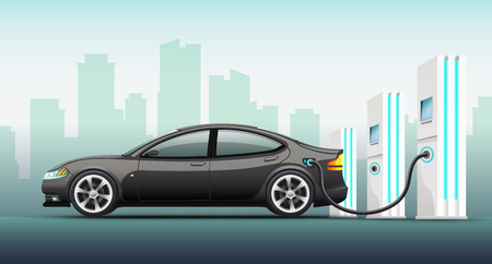 Realistic vector illustration of electric car. Illustration