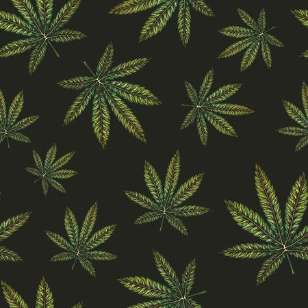 Marijuana leaves seamless pattern. Illustration