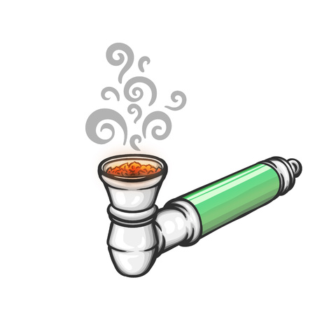 Stuffed metal pipe for smoking weed. Illustration
