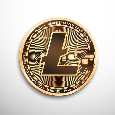 Litecoin golden coin. Isolated detailed vector illustration on white background.