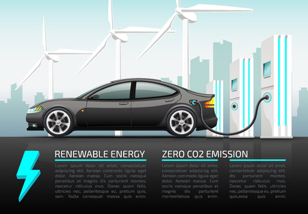 Realistic vector illustration of electric car. Vectores