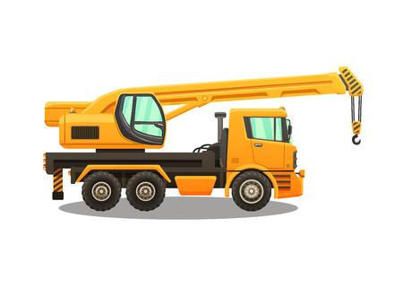 Detailed vector illustration of truck crane. Illustration