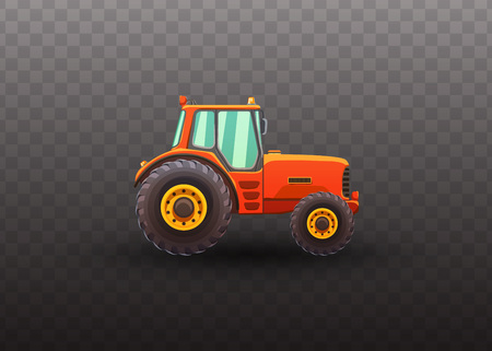 Tractor isolated vector illustration on transparent background. Illustration