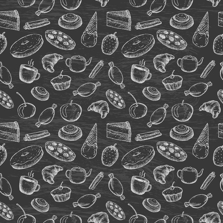 Hand drawn seamless texture of sweets
