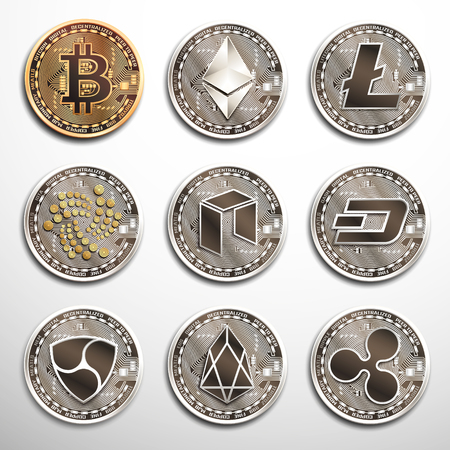 Conceptual set of cryptocurrencies.