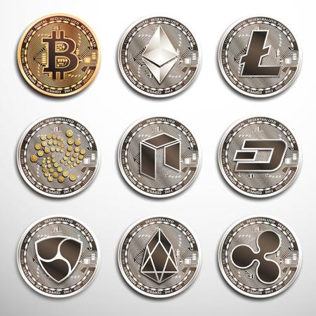 Konzeptioneller Satz von Kryptowährungen. Vektorgrafik