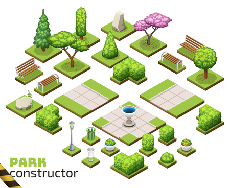 Isometric park constructor. Ilustração