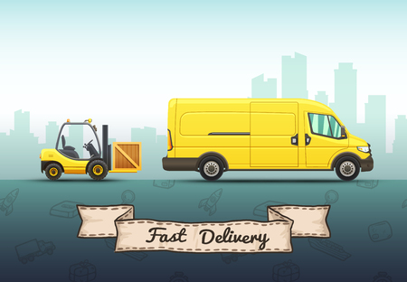 Conceptual vector illustration of fast delivery service with truck and forklift on a urban background.