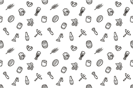 Hand drawn seamless pattern with beer stuff. Vector texture.