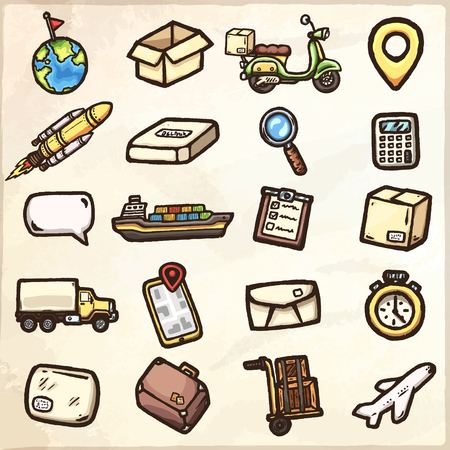 Hand drawn logistic icons. Vector icons set.