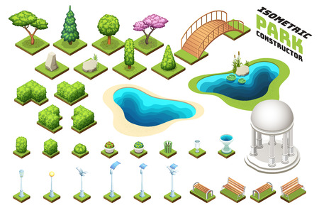 Isometric park constructor set. Isolated vector illustrations.