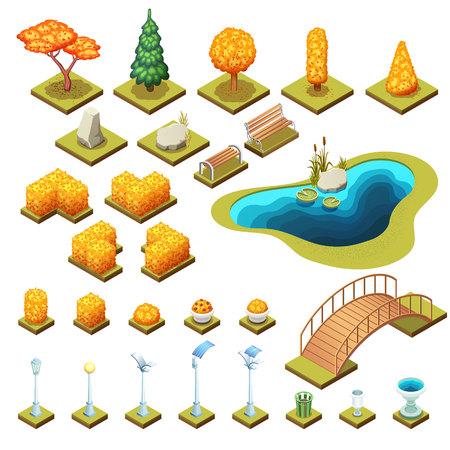 Colección otoñal de árboles isométricos, rocas y diferentes objetos del parque. Ilustraciones de vectores aislados. Ilustración de vector