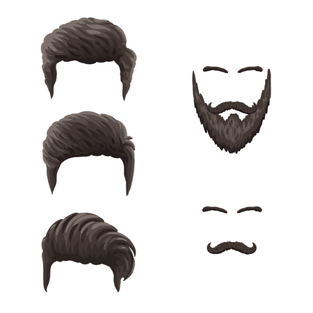 Vector eps10 cartoon colorful man hairstyles, isolated on a white background.