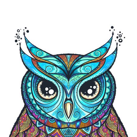 Owl with tribal ornament. Vector illustration.