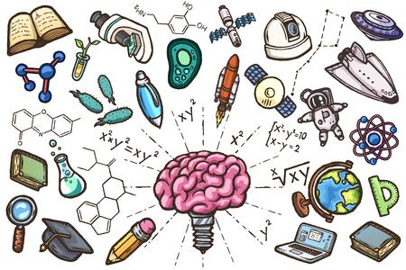 Scientific conceptual set of hand drawn vector icons.