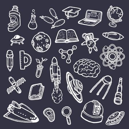 Set of hand-drawn scientific doodles. Vector illustration eps10.