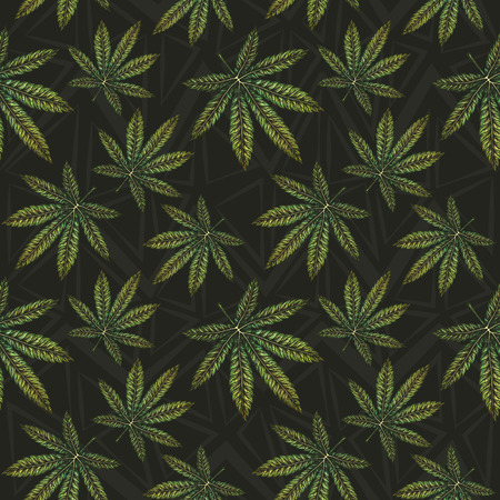 Marijuana leaves seamless pattern. Detailed hand drawn vector illustration. 向量圖像