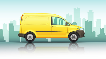 Conceptual vector illustration of van fast delivery service on a urban background. 向量圖像