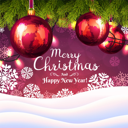 Christmas background with snowflakes and Christmas tree branches with decorations and garlands on red background. Happy New Year greeting card cover.