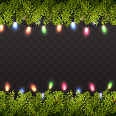 Vector eps10 isolated seamless background with realistic Christmas tree and lights.