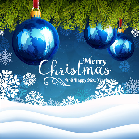 Christmas background with snowflakes and Christmas tree branches with decorations and garlands on blue background. Happy New Year greeting card cover.