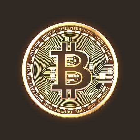 Bitcoin neon glowing coin. Isolated detailed vector illustration on black background. Illustration