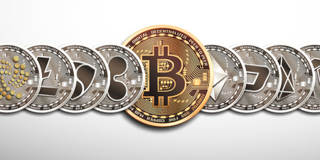 Conceptual set of nine cryptocurrencies. Vector isolated illustrations.