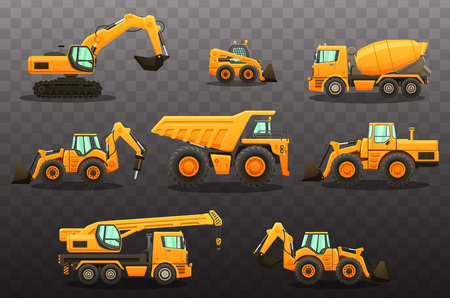 Construction equipment - isolated vector illustrations set. Construction machinery.
