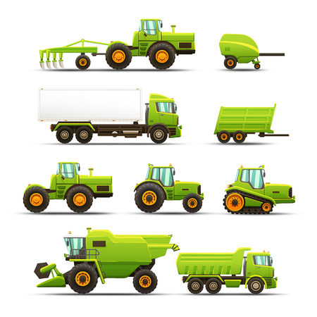 Vector isolated illustrations set of agricultural machinery.