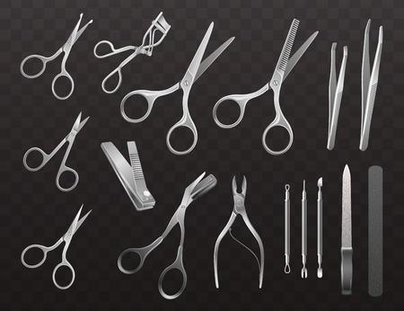Collection vectorielle d'accessoires pour manucure, coupe de cheveux et maquillage. Illustrations réalistes isolées sur fond semi-transparent. Vecteurs