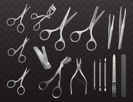 Vector collection of accessories for manicure, haircuts and makeup. Isolated realistic illustrations on a semi-transparent background. Illustration