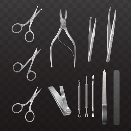 Vector collection of accessories for manicure and pedicure. Isolated realistic illustrations on a semi-transparent background.