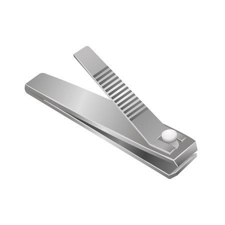 Vector isolated illustration of realistic stainless steel nail clipper.